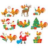 Vastgestelde illustraties van de haan, nieuw jaar, Kerstmis Stock Afbeelding