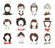 Vastgestelde illustraties -- vrouwelijke avatars Stock Foto's