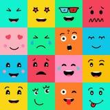 Vastgestelde inzameling van 16 grappige gezichten van emotieemoji Diverse gezichten op kleurrijke achtergrond royalty-vrije illustratie