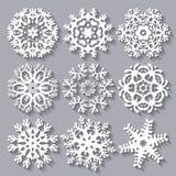 Vastgestelde inzameling van het sneeuwvlokken de vlakke pictogram Royalty-vrije Stock Afbeelding