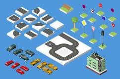 Vastgestelde Isometrische weg en Vectorauto's, Gemeenschappelijk regelgevend verkeer, Bouwend met vensters en airconditioning Vec royalty-vrije stock afbeelding