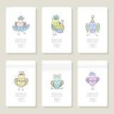 Vastgestelde kaarten met leuke vogels in verschillende acties Royalty-vrije Stock Fotografie