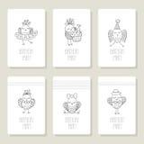 Vastgestelde kaarten met leuke vogels in verschillende acties Stock Afbeelding