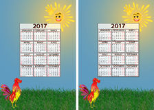 Vastgestelde kalender 2017 Stock Afbeeldingen