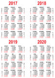 Vastgestelde Kalender 2017, 2018, 2019, het netmalplaatje van 2020 Royalty-vrije Stock Foto