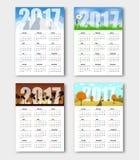 Vastgestelde kalenders voor seizoenen van het jaar 2017 Stock Fotografie