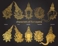 Vastgestelde karakters van Ramayana Stock Afbeeldingen