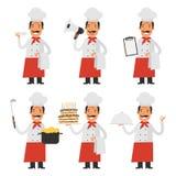 Vastgestelde karakterschef-kok en kelner Royalty-vrije Stock Afbeelding