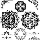 Vastgestelde Kazakh Aziatische ornamenten en patronen Stock Foto's