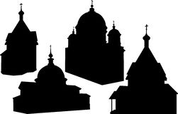 Vastgestelde kerken. Silhouetten Royalty-vrije Stock Fotografie