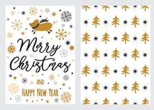 Vastgestelde Kerstmis en het Gelukkige Nieuwjaar wensen kaarten met kalligrafie en decoratieve elementen 2019 van de varkens de m stock illustratie