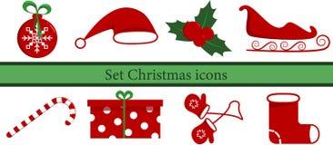 Vastgestelde Kerstmispictogrammen stock illustratie