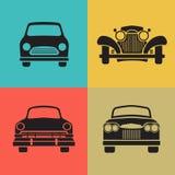 Vastgestelde klassieke het pictogramvector van het auto vooraanzicht Royalty-vrije Stock Afbeelding