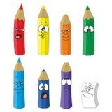 Vastgestelde kleur 10 van het beeldverhaal emotionele potlood Stock Foto's