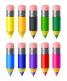 Vastgestelde kleurpotloden Royalty-vrije Stock Afbeeldingen