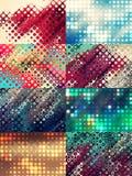 Vastgestelde kleurrijke die achtergronden van heldere punten worden gemaakt Stock Fotografie