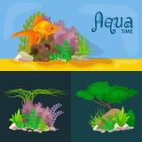 Vastgestelde kleurrijke koralen en algen, Vector onderwaterflora, fauna Stock Afbeelding