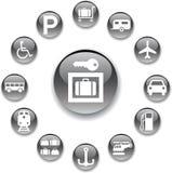 Vastgestelde knopen - 107_A. De pictogrammen van het vervoer Stock Foto