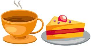 Vastgestelde koffiekop met cake Stock Fotografie