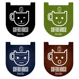 Vastgestelde koffiepictogrammen Royalty-vrije Stock Afbeelding