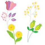 Vastgestelde krabbel getrokken die bloemen op witte achtergrond voor ontwerp worden geïsoleerd Royalty-vrije Stock Foto's