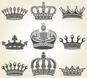 Vastgestelde kronen in uitstekende stijl Stock Afbeelding