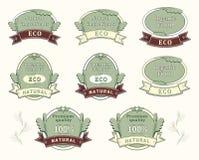 Vastgestelde kwaliteitsetiketten voor natuurlijk ingrediënt Stock Foto