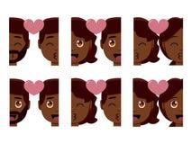 Vastgestelde leuke geïsoleerd emojis kleurrijk van het kawaiipaar stock illustratie