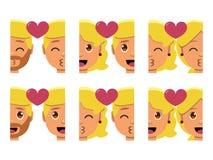 Vastgestelde leuke geïsoleerd emojis kleurrijk van het kawaiipaar vector illustratie