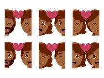 Vastgestelde leuke geïsoleerd emojis kleurrijk van het kawaiipaar royalty-vrije illustratie