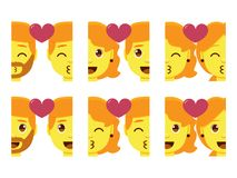 Vastgestelde leuke geïsoleerd emojis kleurrijk van het kawaiipaar Royalty-vrije Stock Foto