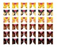 Vastgestelde leuke geïsoleerd emojis kleurrijk van het kawaiipaar Stock Foto