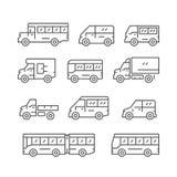 Vastgestelde lijnpictogrammen van bus en bestelwagen Stock Foto