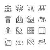 Vastgestelde lijnpictogrammen van dak Royalty-vrije Stock Fotografie