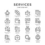 Vastgestelde lijnpictogrammen van de diensten Stock Foto