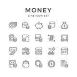 Vastgestelde lijnpictogrammen van geld Stock Afbeelding