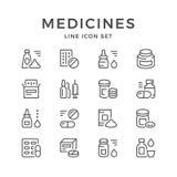 Vastgestelde lijnpictogrammen van geneesmiddelen Stock Afbeeldingen