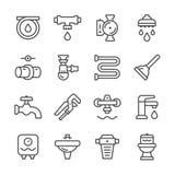 Vastgestelde lijnpictogrammen van loodgieterswerk Royalty-vrije Stock Foto's