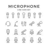 Vastgestelde lijnpictogrammen van microfoon vector illustratie