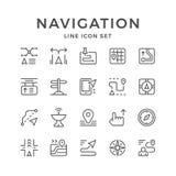 Vastgestelde lijnpictogrammen van navigatie Royalty-vrije Stock Foto