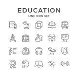 Vastgestelde lijnpictogrammen van onderwijs stock illustratie
