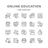 Vastgestelde lijnpictogrammen van online onderwijs Stock Foto