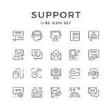 Vastgestelde lijnpictogrammen van steun Stock Afbeelding
