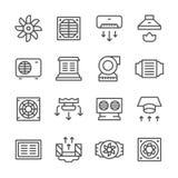 Vastgestelde lijnpictogrammen van ventilatie Royalty-vrije Stock Afbeelding
