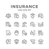 Vastgestelde lijnpictogrammen van verzekering Stock Foto