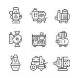 Vastgestelde lijnpictogrammen van waterpomp Stock Fotografie