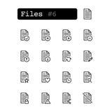 Vastgestelde lijnpictogrammen Vector Document, dossier Royalty-vrije Stock Foto