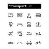 Vastgestelde lijnpictogrammen Vector vervoer Stock Fotografie