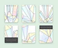 Vastgestelde malplaatjes voor druk met kristallen en diamanten Bergkristallenkrabbel Royalty-vrije Stock Foto
