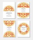 Vastgestelde malplaatjesadreskaartjes en uitnodigingen met cirkelpatronen van mandalas Royalty-vrije Stock Fotografie